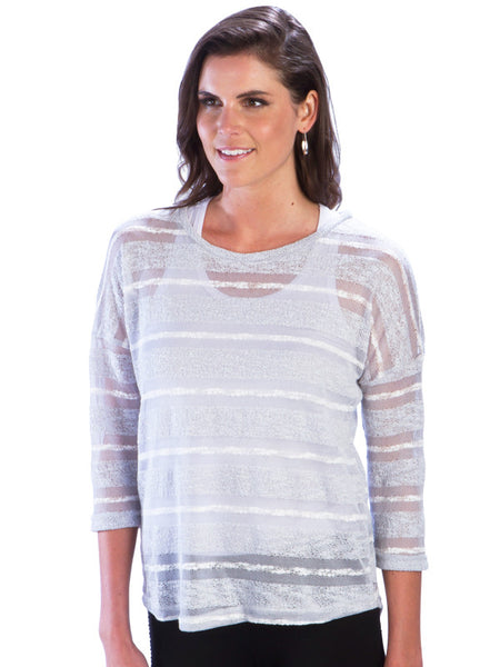 Striped Mesh Dolman Top