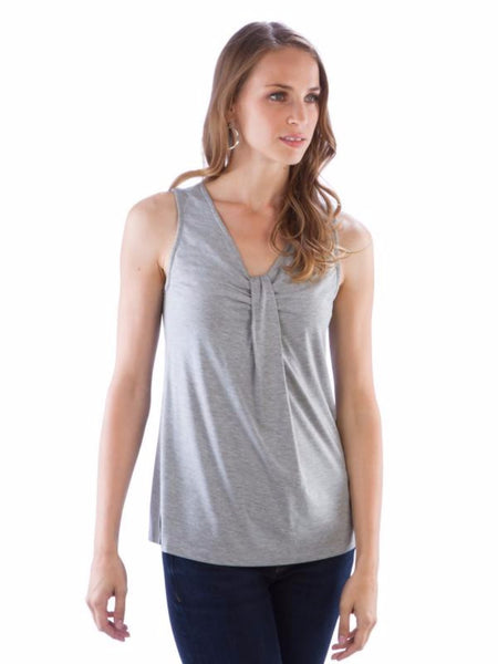 Neesha Womens V Neck Sleeveless Drape Front Top in Heather