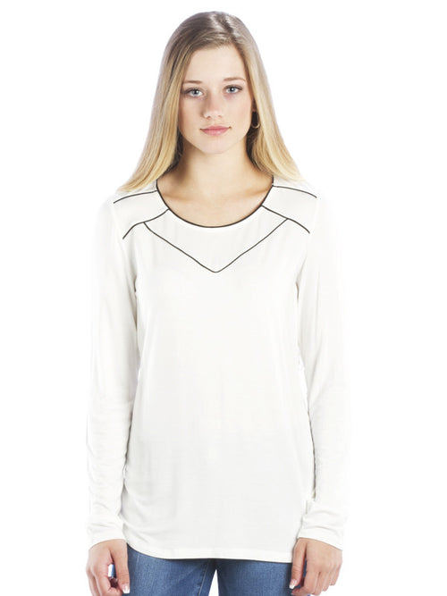 Athleisure Chiffon Trim Top with Scoop Neck, Ivory