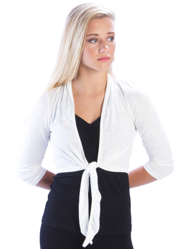 Slub Ruched Back Cropped Shrug
