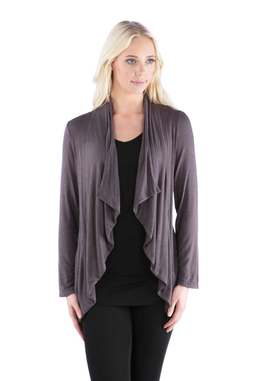 Slub Ruffled Shrug with Double Ruched Back - Grey Cardigan
