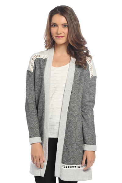 Terry Cardigan with Trim in Charcoal