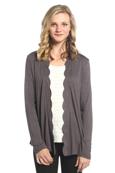 Scalloped Trim Cardigan in Grey