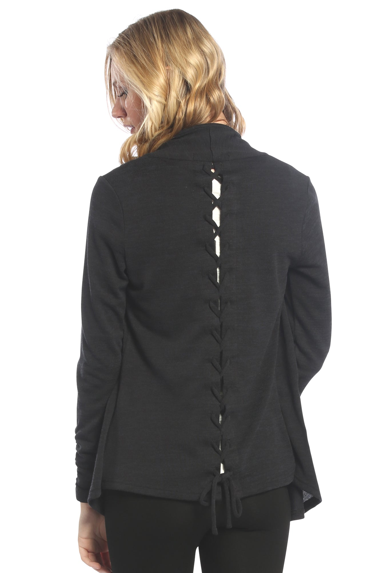Braided Back Cardigan in Black