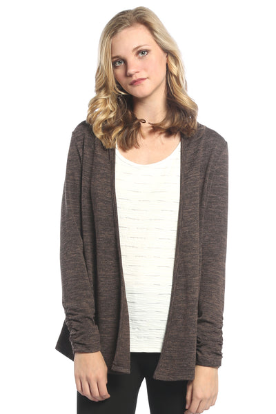 Braided Back Cardigan in Brown
