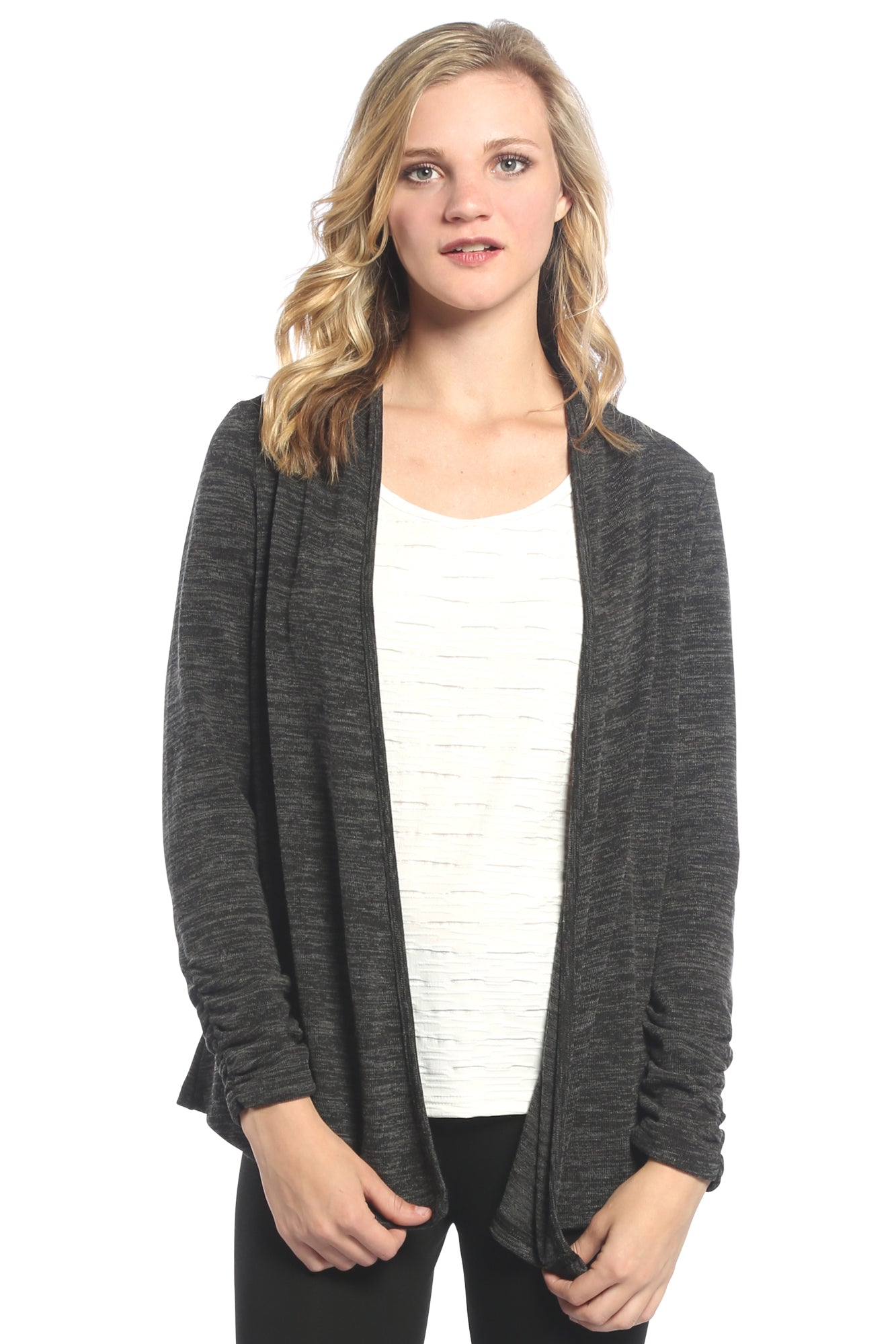 Braided Back Cardigan in Charcoal