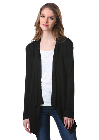 Active Open Front Cardigan in Black