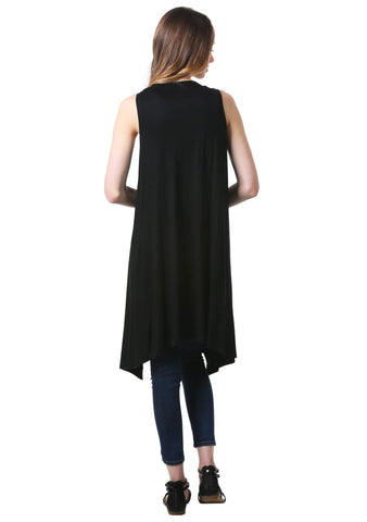 Long Open Front Cardigan Vest