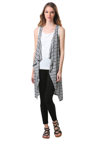 Long Drapey Striped Vest
