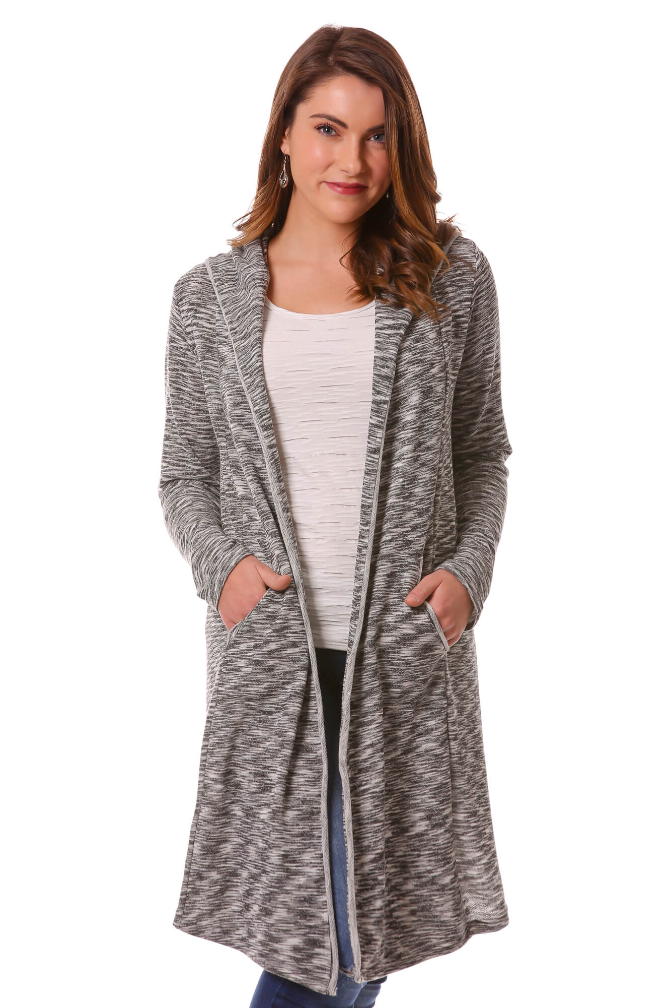 Space Dye Terry Cardigan with Hood and Pockets | Long Cardi | Neesha