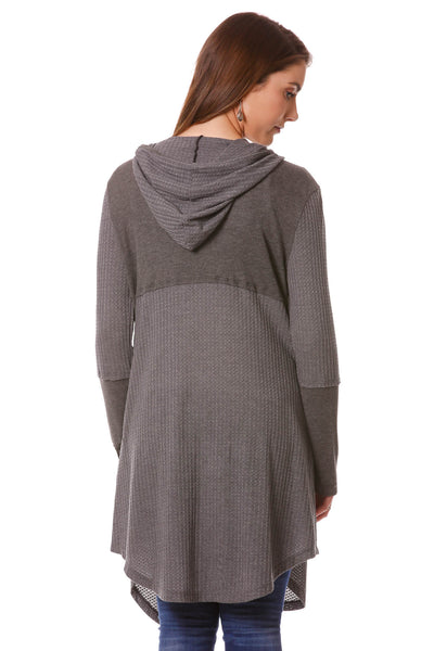 Athleisure Mixed Fabric Hooded Duster-Grey
