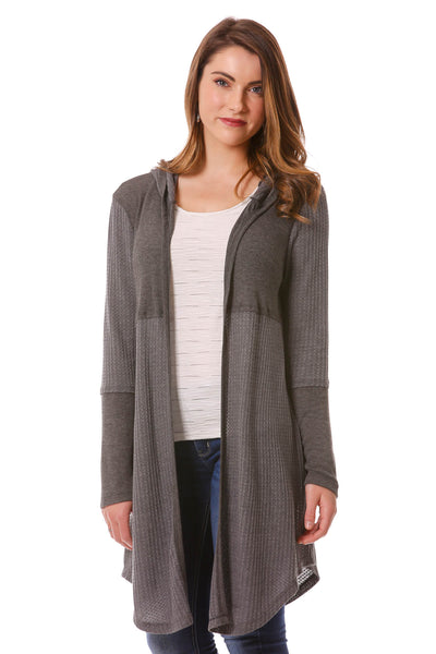 Athleisure Mixed Fabric Hooded Duster