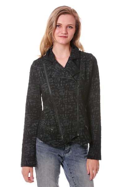Women's Black Jacquard Moto Jacket | Fashion Jackets | Neesha