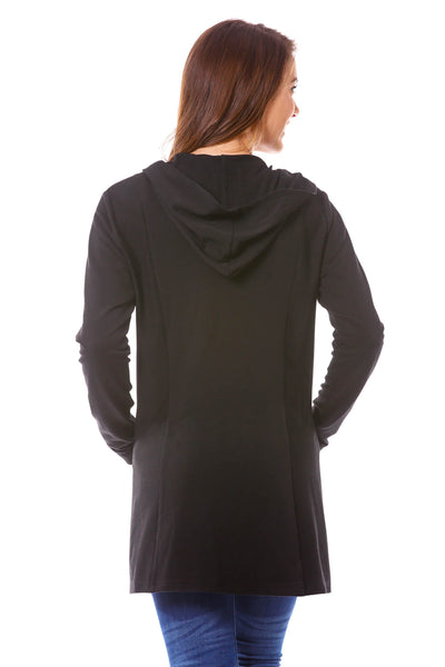 Neesha Women's Terry Duster Cardigan with/ Reverse Panels and Pockets in Black