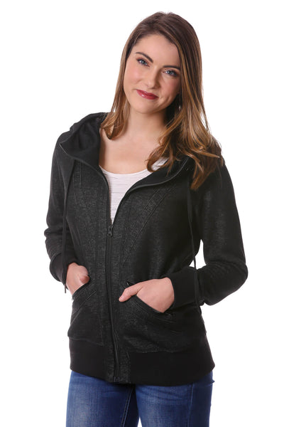 Zip Up Trim Hoodie-Black