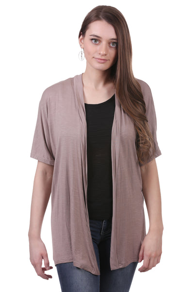 Coffee Cardigan with Drawstring Ruched Back | Brown Shrug | Neesha