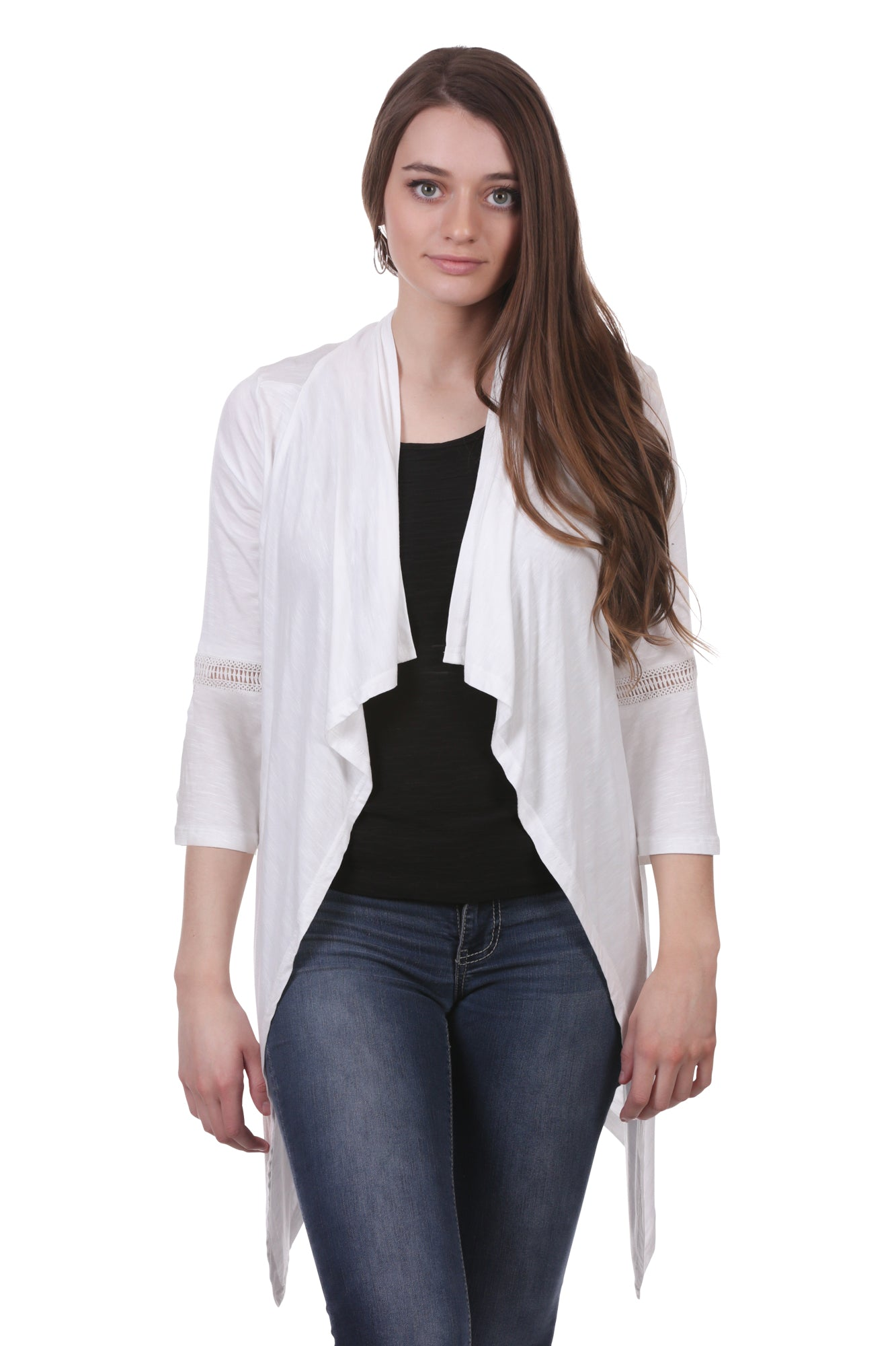 Women's White Cardigan | Crochet Accent Shrug with Bell Sleeves