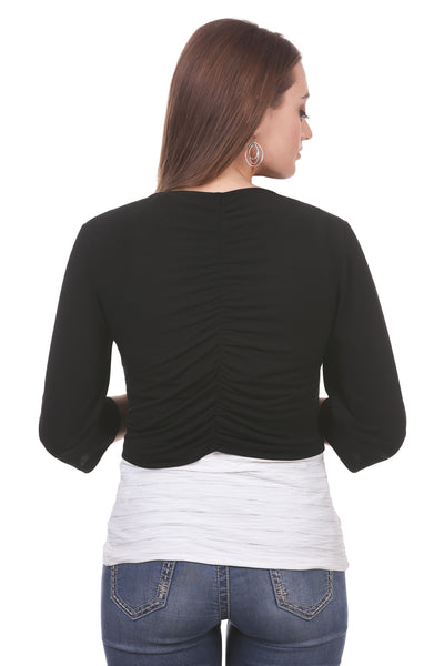 Women's Cropped Ruched Back Shrug | Black 3/4 Sleeve Cardigan | Neesha