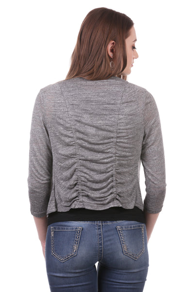 Slub Double Ruched Back Cropped Shrug
