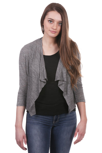 Slub Double Ruched Back Cropped Shrug | Grey Open Front Cardigan