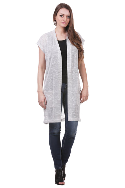 Gauzy Short Sleeve Duster with Pockets