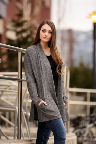 Cozy Rib Knit Cardigan with Pockets