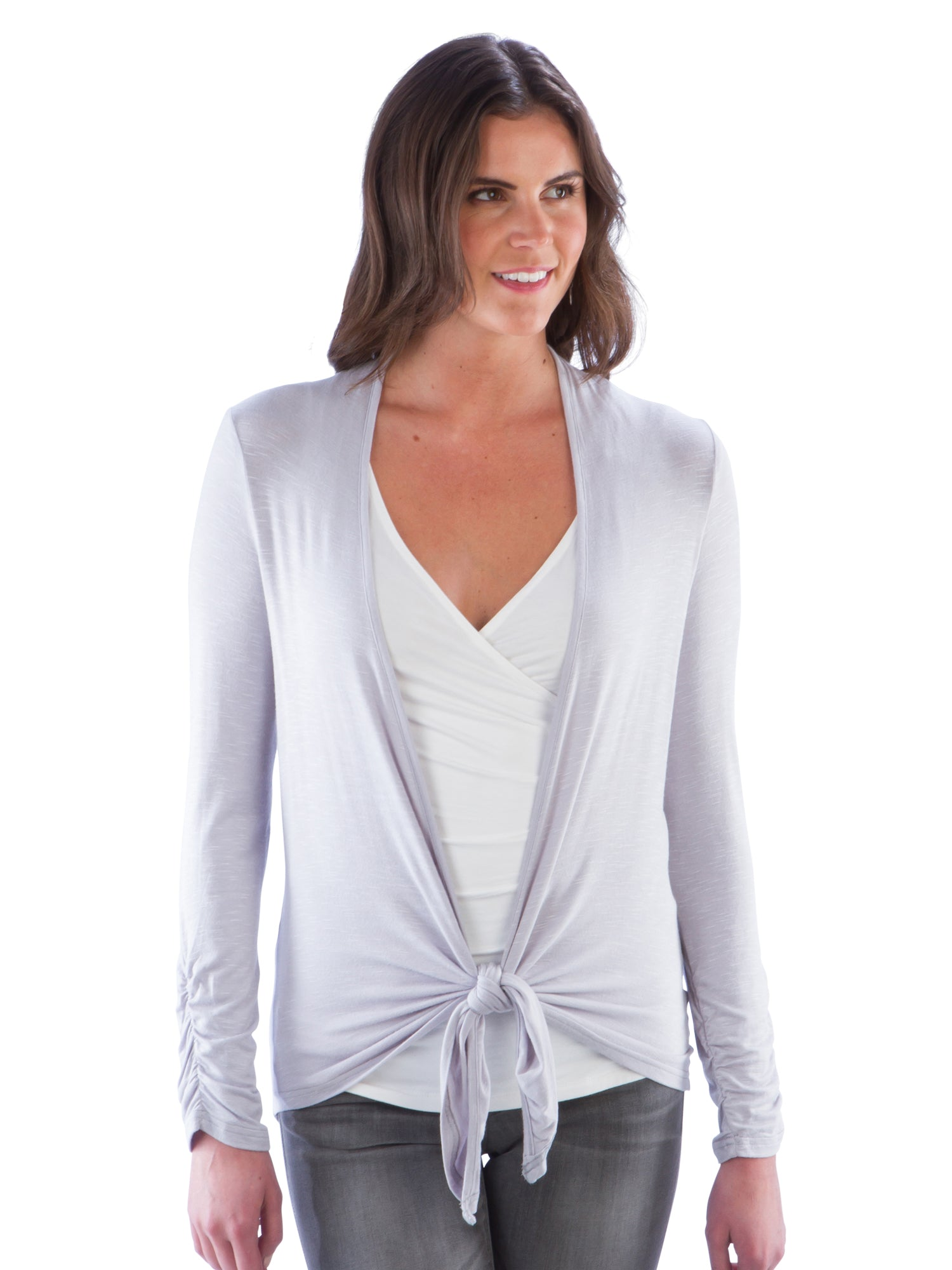 Tie Front Cardigan with Ruched Back