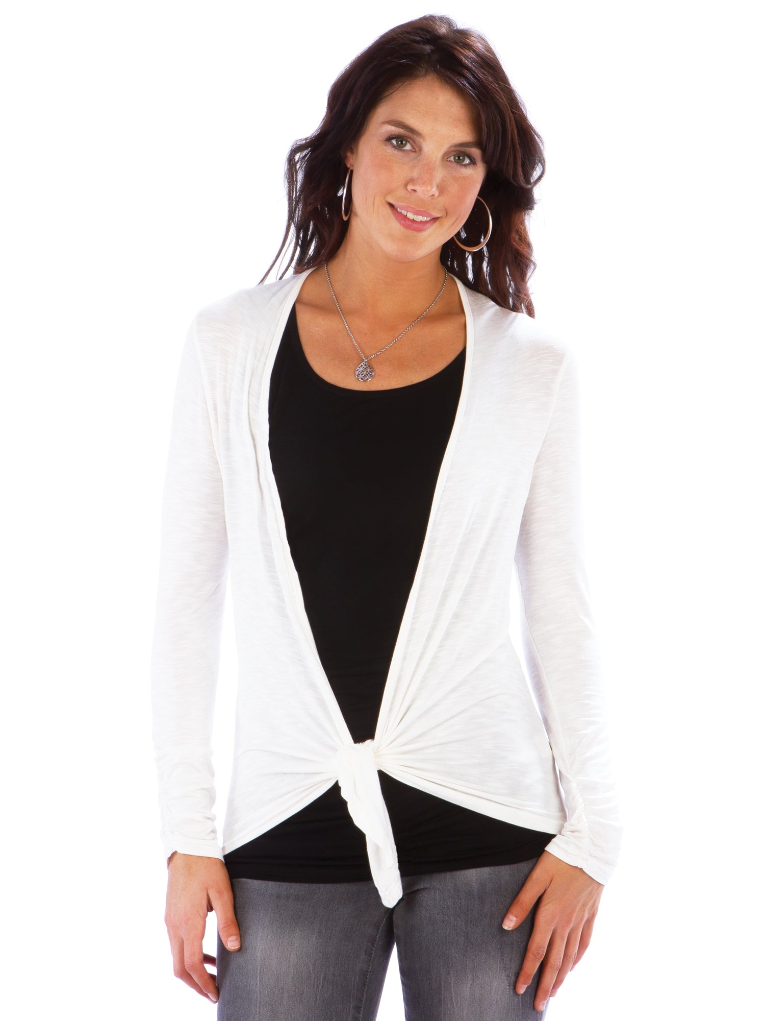Women's Tie Front Cardigan with Ruched Back | Neesha Open Front Cardi