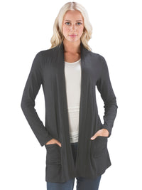 Long Open Front Cardigan with Pockets