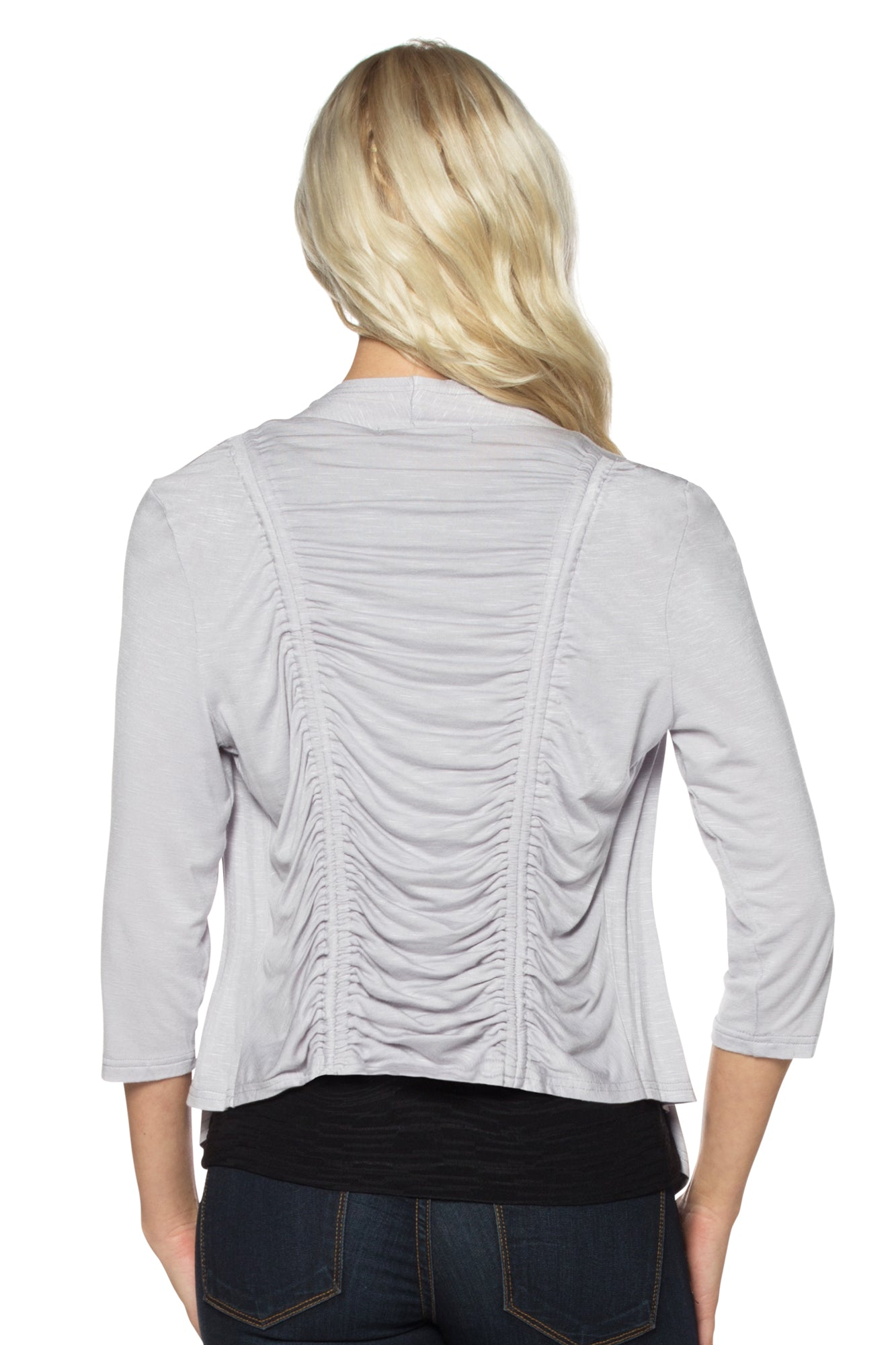 Ruffled Slub Shrug with Double Ruched Back