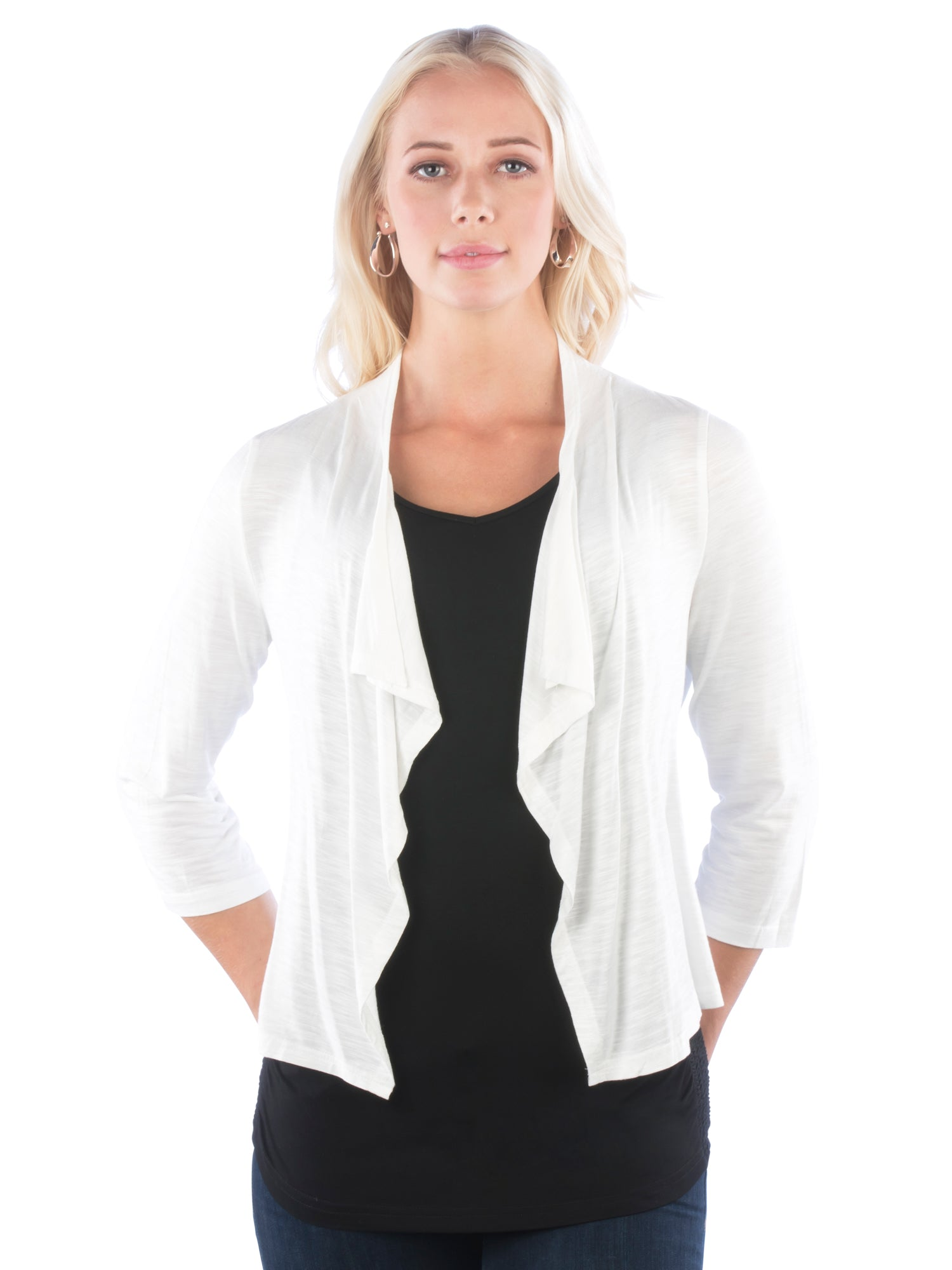 Ruffled Slub Shrug with Double Ruched Back- Spring Shrug/Cardigan