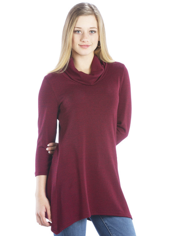 Sweater Tunic with Cowl Neck and Irregular Handkerchief Hem, Maroon
