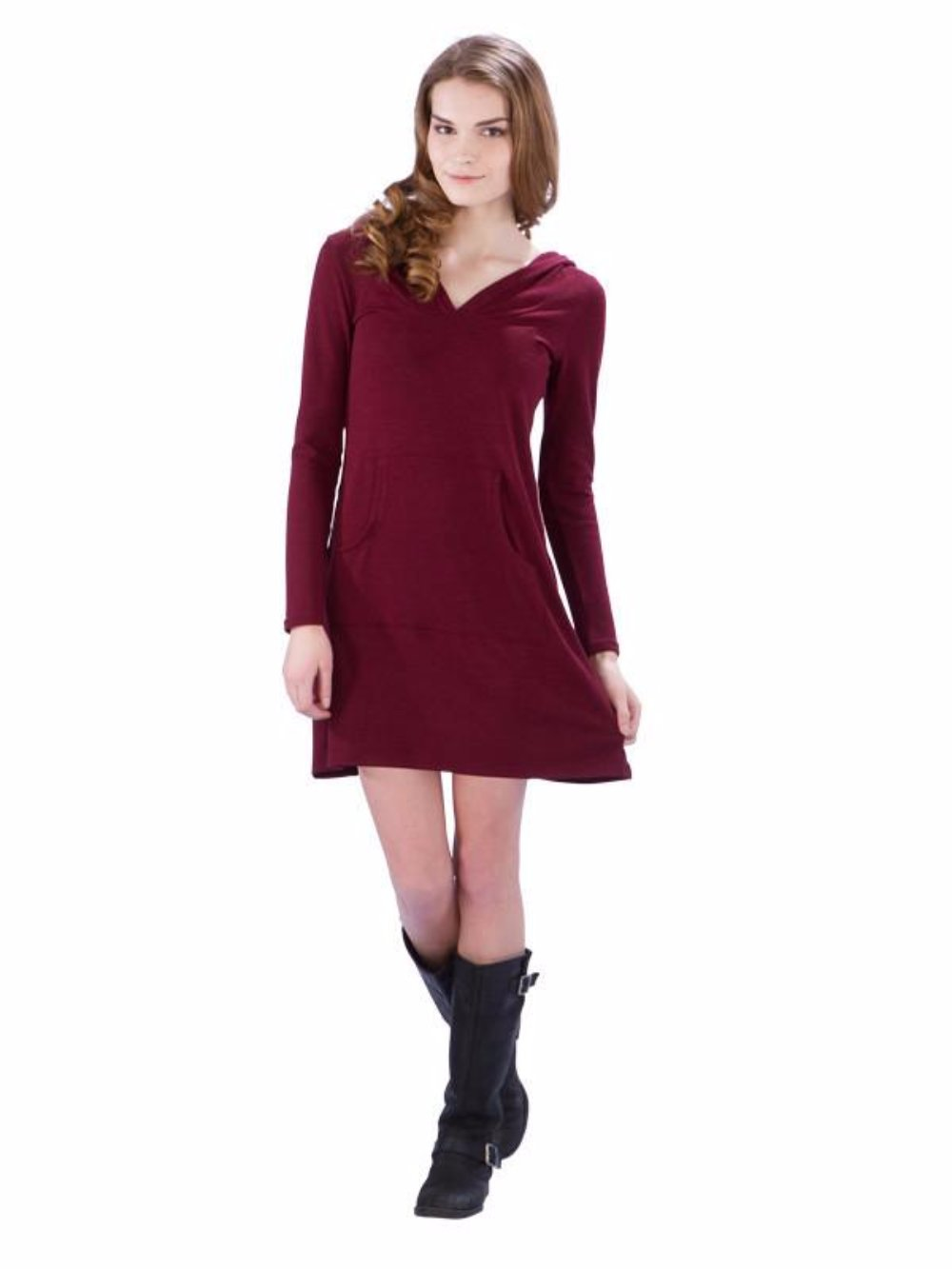 Hoodie Sweater Dress with Kangaroo Pocket and V-Neck - Maroon Sweater Dress