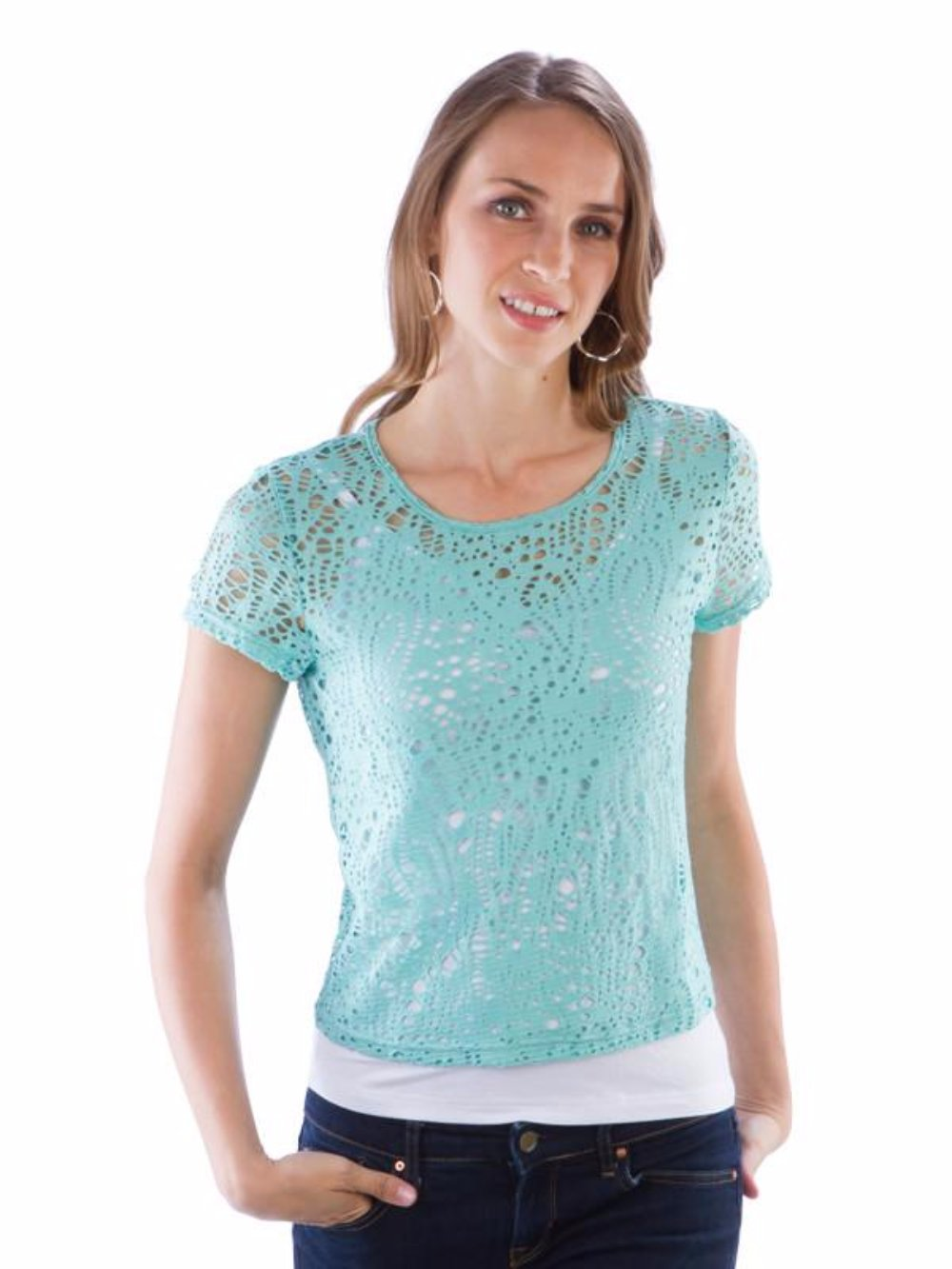 Neesha Womens Eyelet Crop Top in Mint
