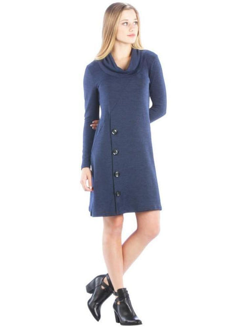 Cowl Neck Sweater Dress With Buttons Navy Blue