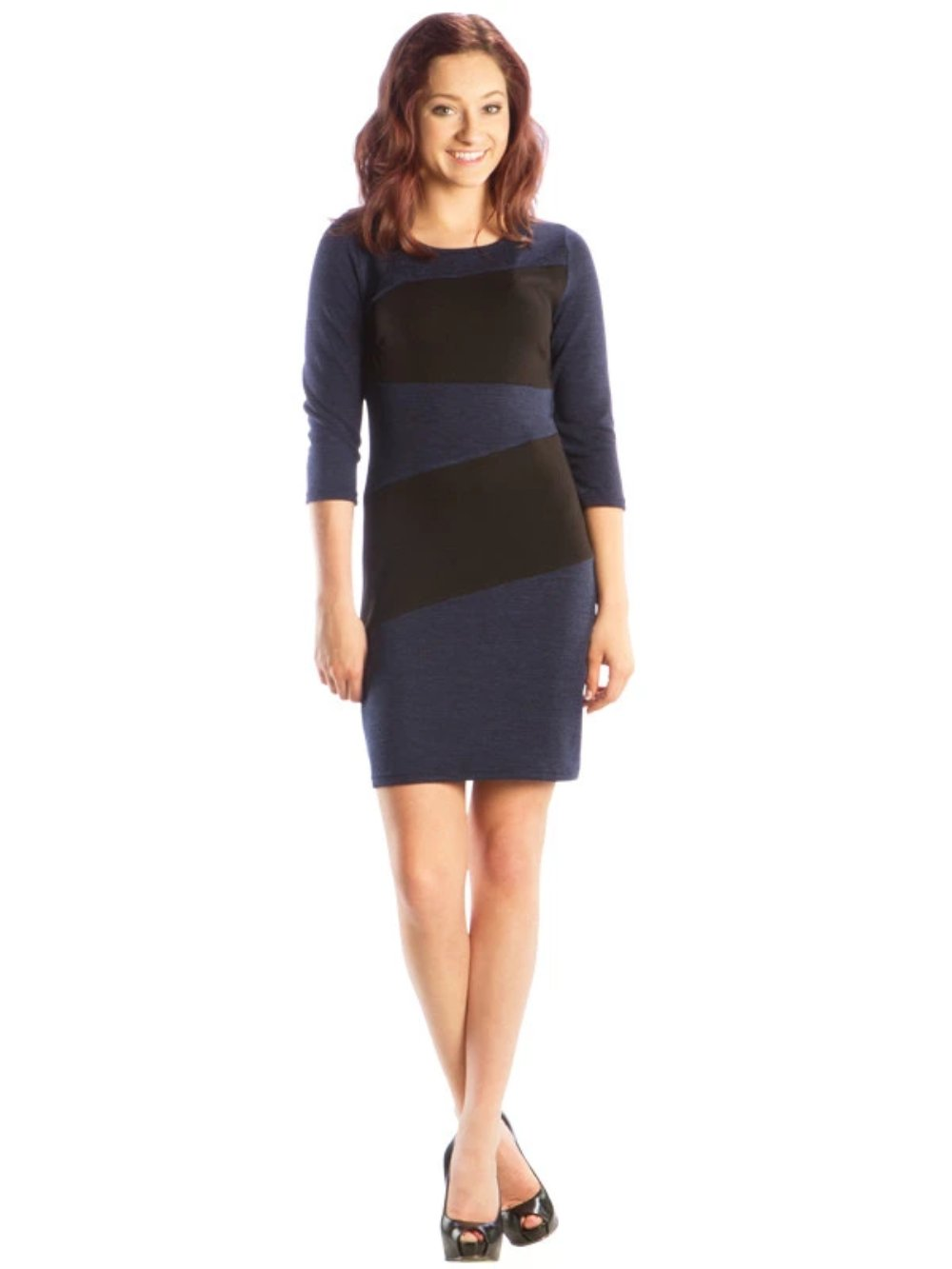 Color Block Sweater Sheath Dress with 3/4 Length Sleeves, Navy