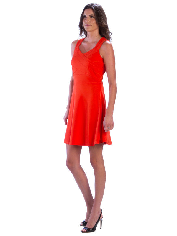 Sleeveless Fit and Flare Bandage Dress, Orange