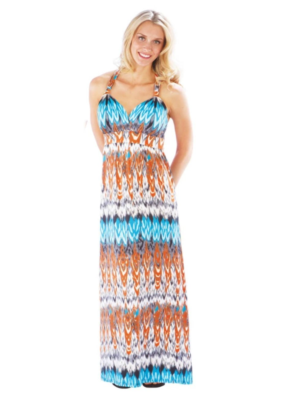 Maxi Beach Dress with Adjustable Faux Halter, Orange/Turquoise