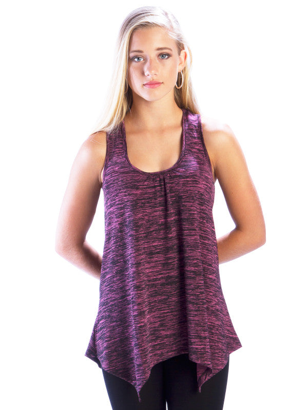 Heather Racerback Top with Irregular Hem in Pink