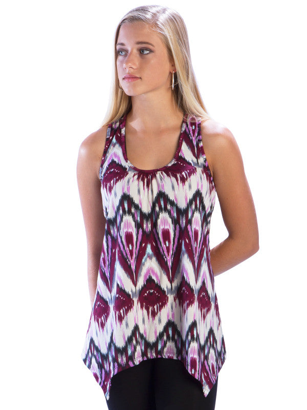 Purple Racerback Tank Top with Irregular Hem