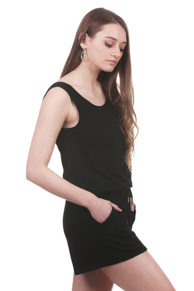 Women's Drawstring Waist Romper with Trimmed Pockets | Black or Grey