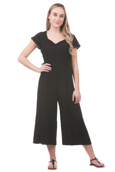Women's Laced Side Button Up Cropped Jumpsuit | Black Jumper | Neesha