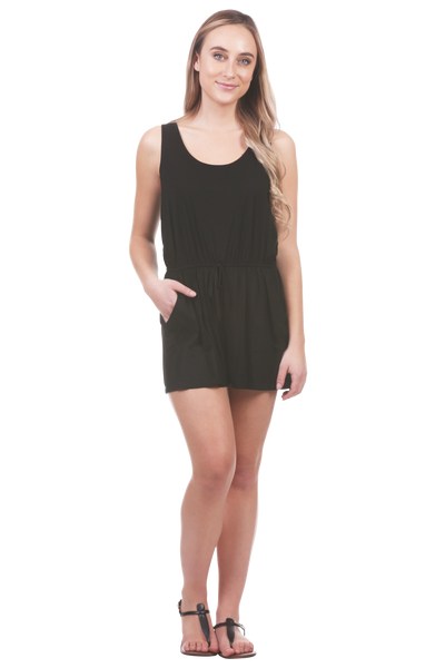 Tie Back Romper with Pockets | Sleeveless Stretch Romper | Neesha