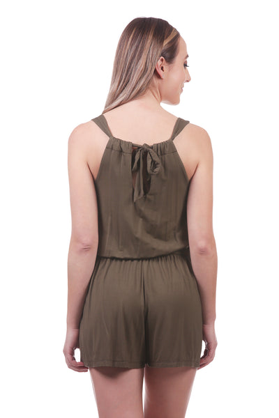 Tie Back Romper with Pockets | Sleeveless Stretch Romper in Olive | Neesha