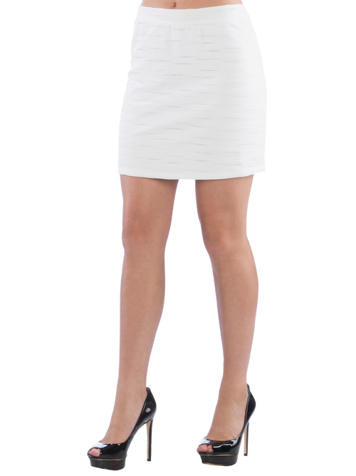 Neesha Womens Bodycon Pencil Skirt with Eyelet Texture in White