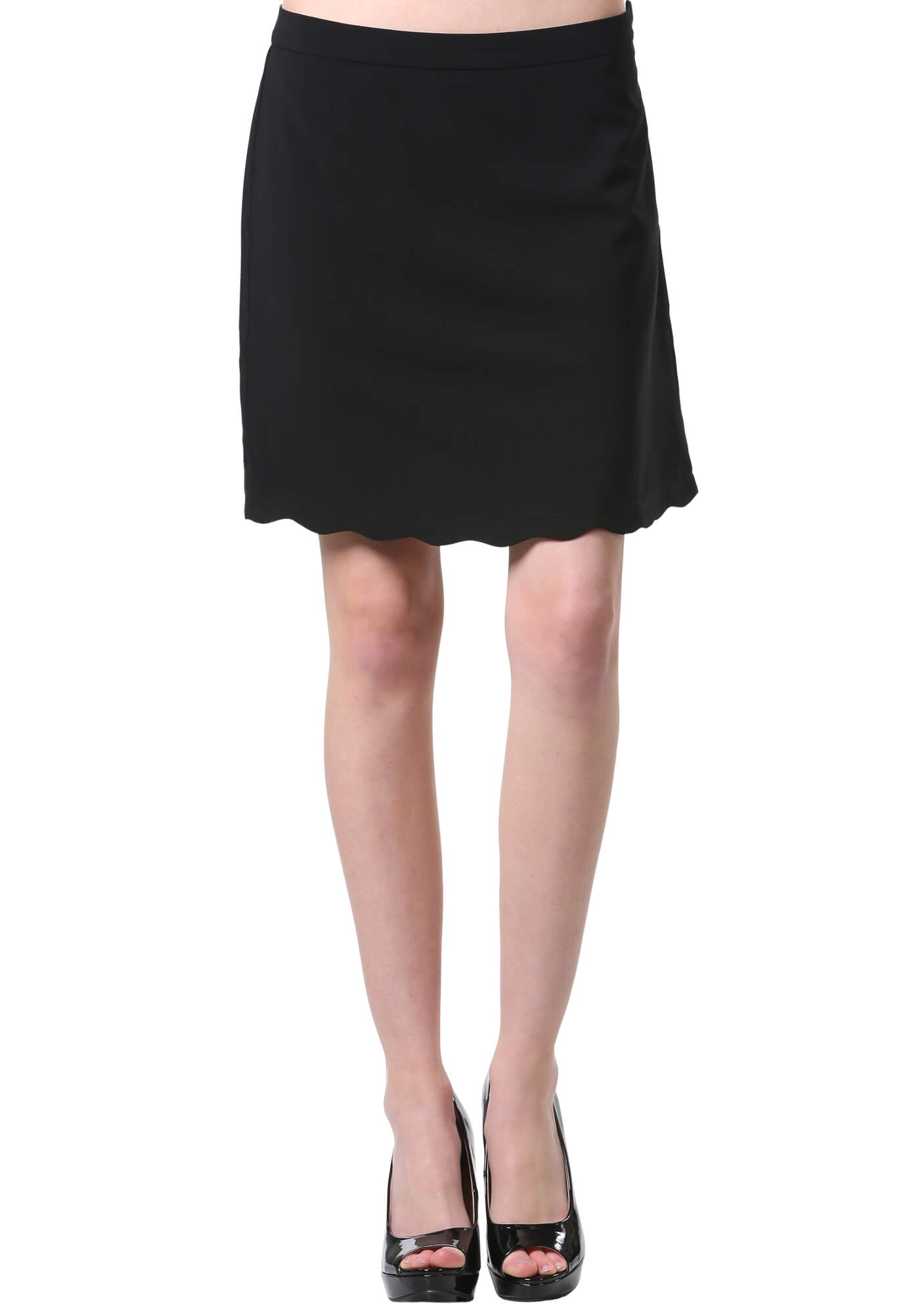 Black Scalloped Hem A Line Skirt