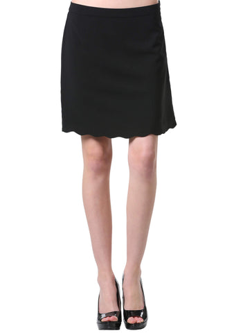 Black Scalloped Hem A Line Skirt | Neesha