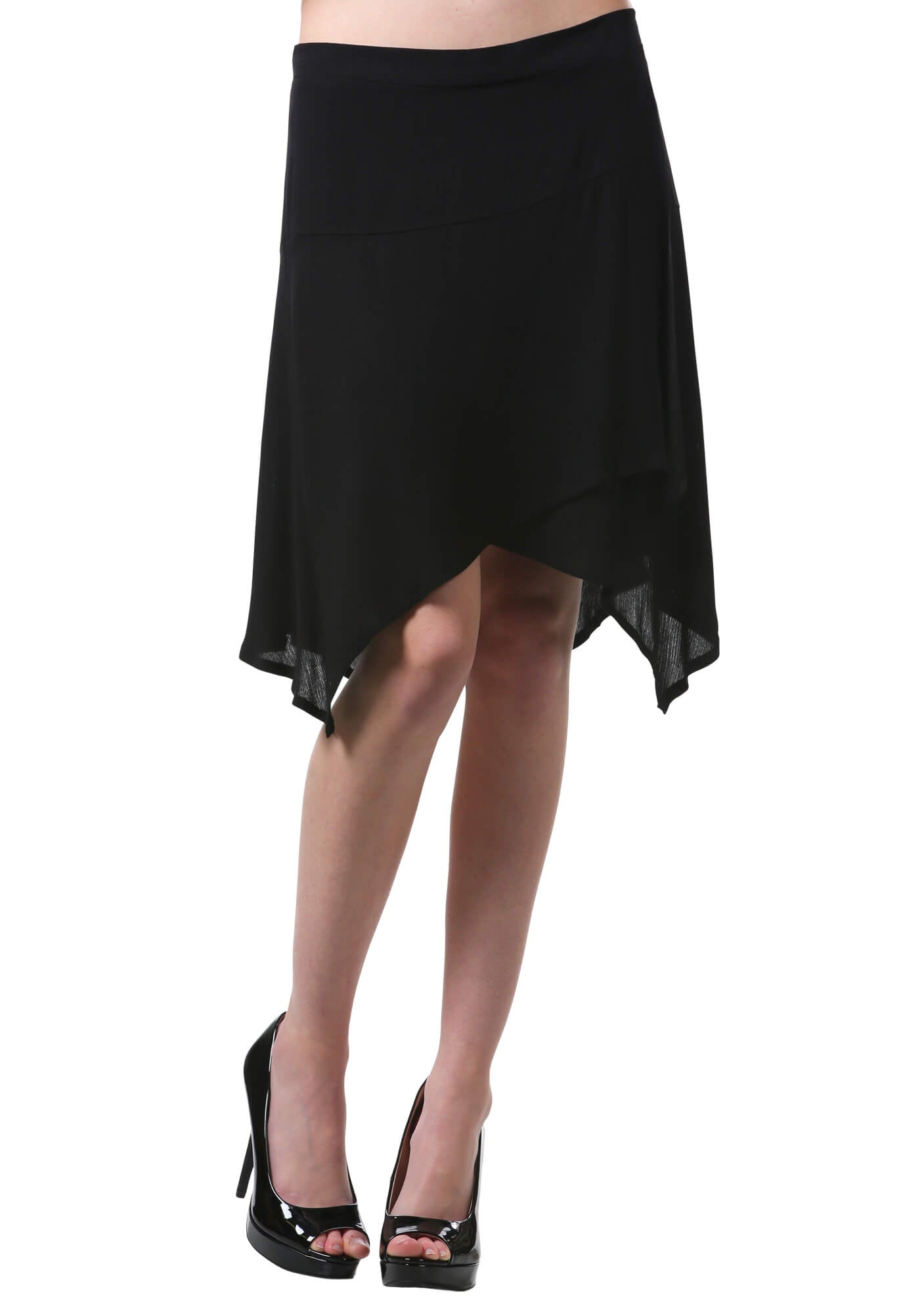 Black Handkerchief Hem Skirt