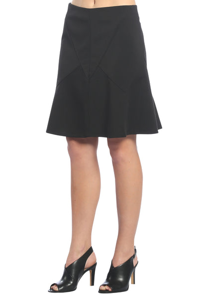 Godet Flutter Skirt in Black