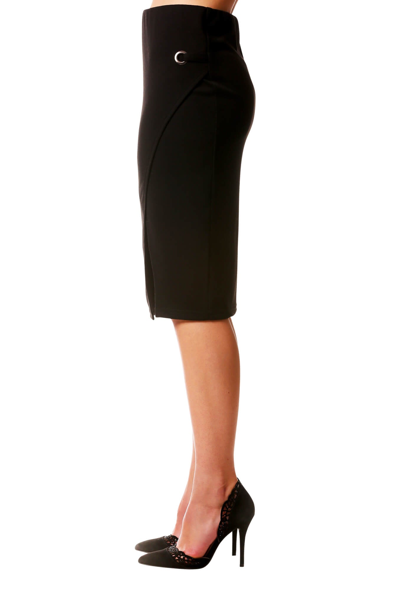 Cross Over Slit Skirt with Grommet-Black